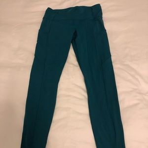 "Lululemon fast and free nulux leggings 28"" green 8"
